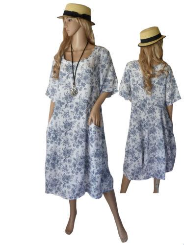 vestido blanco 40 lino 54 Estampado de Vestido verano Vestido corta del Tamaño Italia de manga Vestido de flores de f5qTHn