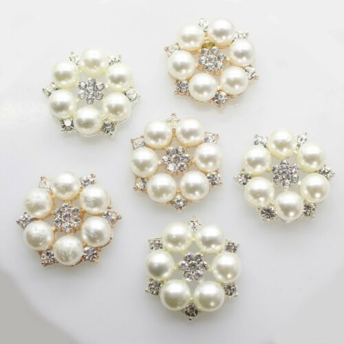 10pc Flower Rhinestones Buttons Pearl Button Wedding Decoration Crystal Bow