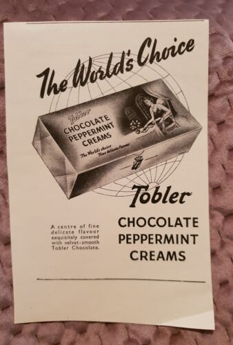 Tobler Chocolate Peppermint Creams Vintage Advertisement