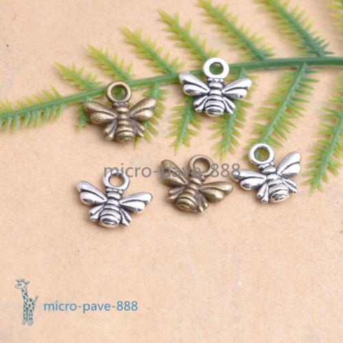 50//100Pcs Tibetan Silver Bee Charm Pendant Jewelry Findings  Free Ship #87