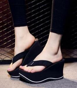 New-Womens-Platform-Wedge-Heel-Flip-Flops-Platform-Beach-Slippers-Shoes-Sandals