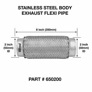 Exhaust Flex Pipe Stainless Steel 2.5/'/' x 6/'/' Weld On Flexible Joint Repair
