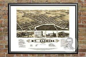 Old-Map-of-Mt-Clemens-MI-from-1881-Vintage-Michigan-Art-Historic-Decor