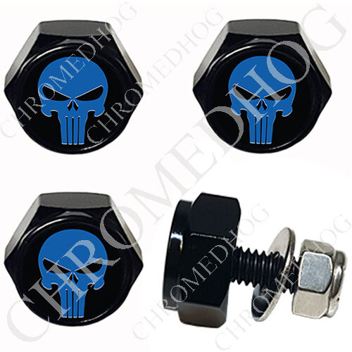 4 Black Billet License Plate Frame Hex Bolts for Harley Punisher Skull Blue//Bk