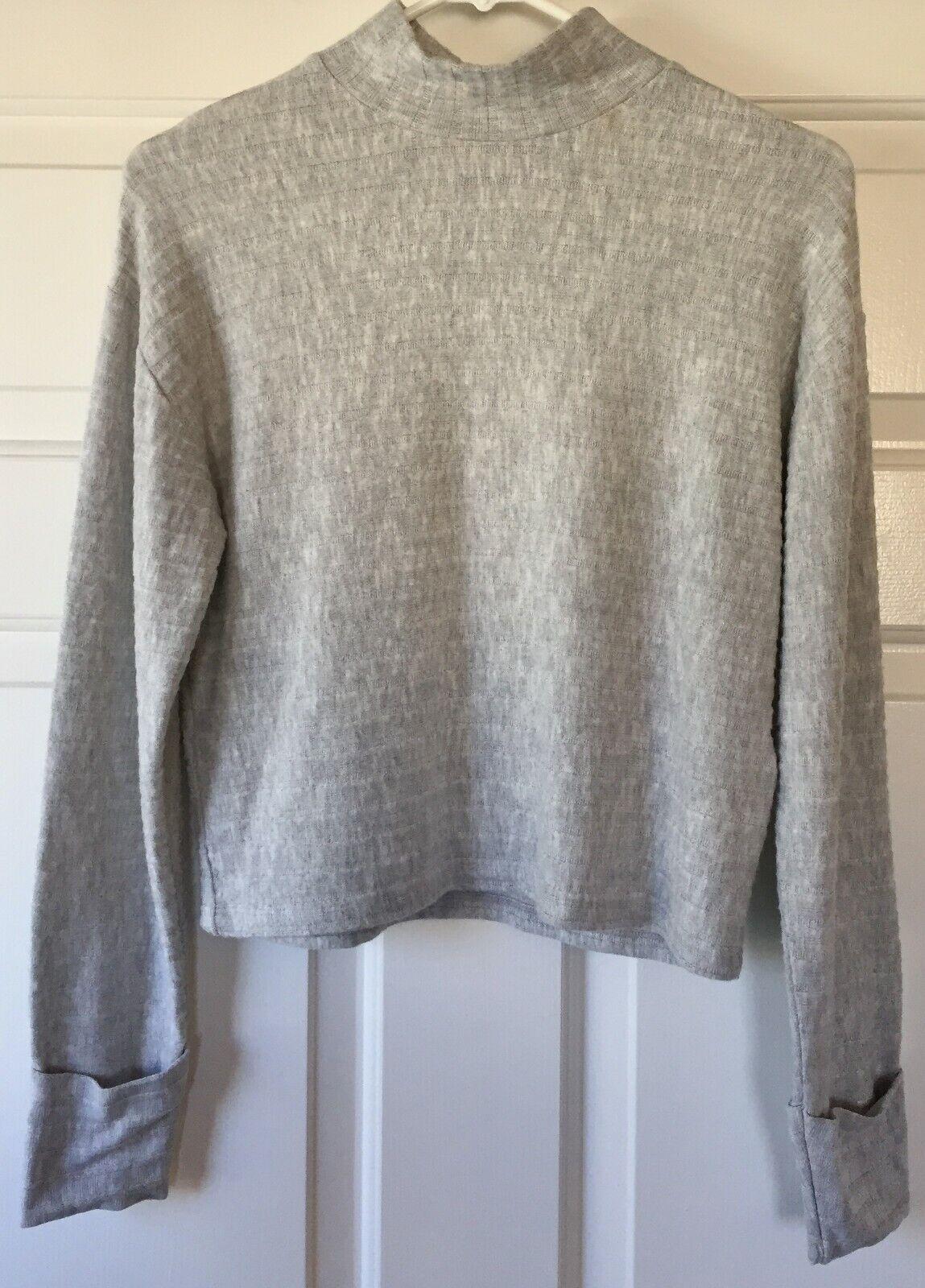 Topshop Chunky Rib Cut and Sew Sweatshirt Grey 09H20PGRY Size 4 USA