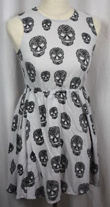 7366c4d83130 Divided H&M Womens Grey Black Skull Sleeveless Back Zip 100% Cotton ...