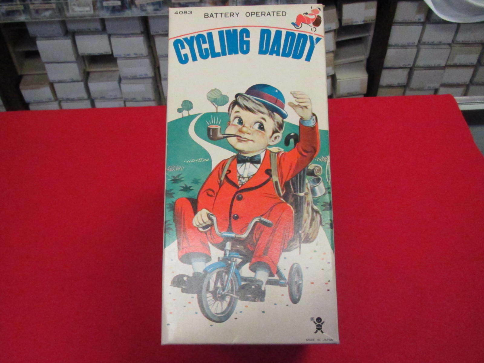 Vintage Bandai Cycling Daddy toy remains in original AWESOME box