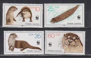DDR385-EAST-GERMANY-DDR-1987-OTTERS-WWF-ANIMALS-MNH