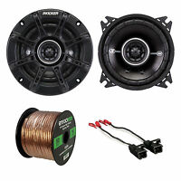 2x Kicker 4 2-way Speakers, 2x Metra Speaker Wire Harness, Enrock 14g 50ft Wire on sale