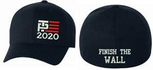 Trump-Pence-2020-Flex-Fit-Embroidered-hat-w-side-flag-amp-FINISH-THE-WALL-on-back