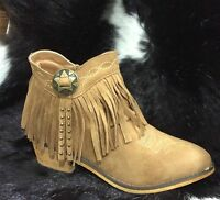 Suede Fringe Zip Up Ankle Boots Booties