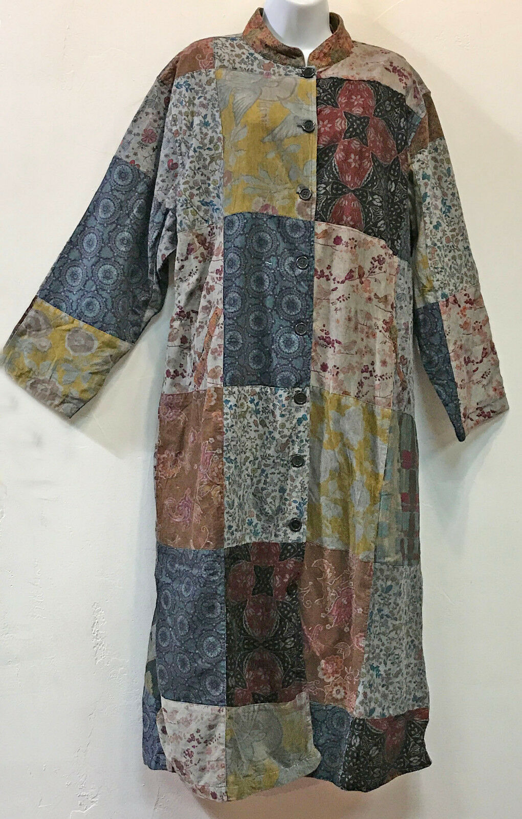 Nwt FUNKY STUFF patch patch patch corduroy cotton lagenlook boho DUSTER COAT + SCARF 2X 22W a76144