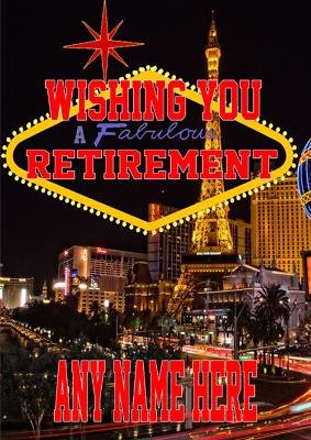 Energico Nevada Las Vegas Mia7 Felice Pensionamento Card Personalizzata Saluti-