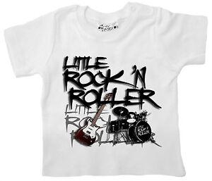 Rock-Baby-T-Shirt-034-Little-Rock-039-N-Roller-034-Tee-Music-Guitar-Drums