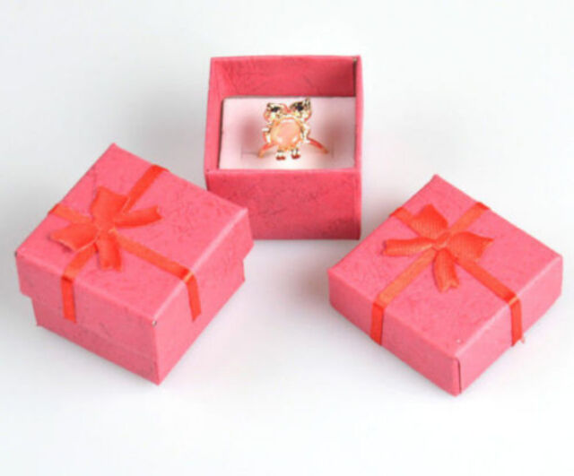 Wholesale lots 24pcs Romantic Red bowknot Ring gift Boxes JEWELRY SUPPLIES NEW