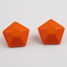 Vintage Lucite clip on Earrings carrot orange pyramid carved shape