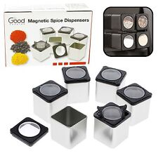 Magnetic Spice Jars - Tins Attach to Most Refrigerator Doors - Shake or Pour ...