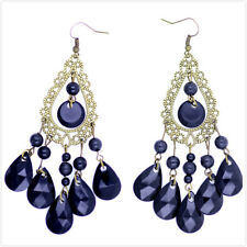 Boho style black chandelier earrings