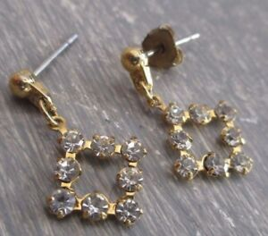 Amical Boucles D'oreilles Percées Clou Bijou Vintage Couleur Or Cristaux Diamant 3400 Remises Vente