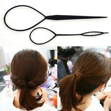 Black Plastic Magic Topsy Tail Hair Braid Ponytail Styling Maker Clip Tool 1 Set
