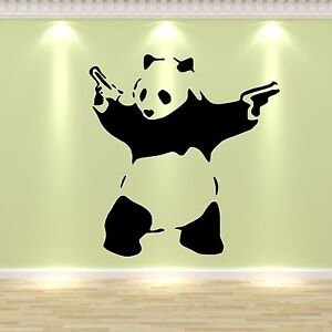 banksy style panda pandamonium vinyl wall art sticker. Black Bedroom Furniture Sets. Home Design Ideas