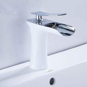 Mitigeur-pour-lavabo-Luxe-cascade-bassin-levier-robinet-de-cuisine-blanch