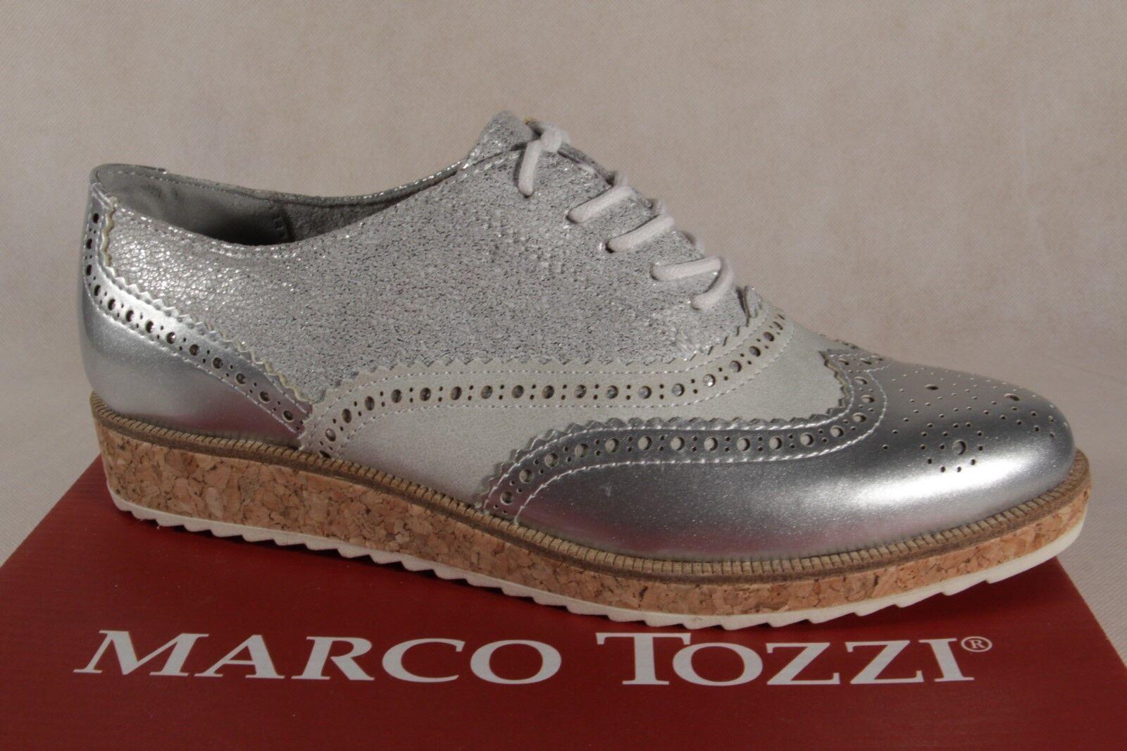 Marco Tozzi Chaussures à Lacets Chaussures de Sport Basses Argent 23726 Neuf