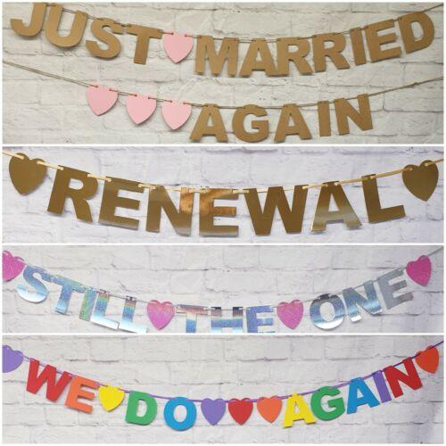 Mariage renouvellement Bunting Bannières Photo Accessoire Mariage Décoration Personnalisé