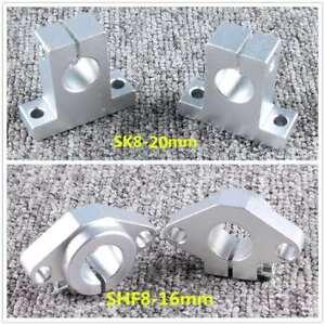 SK8-20-SHF8-16mm-Chrome-Linear-Rail-Shaft-Guide-Support-Bearing-Bracket-CNC-Part