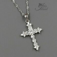 Solid 925 Sterling Silver CZ Cubic Zirconia Cross Pendant Charm 42mm x 33mm