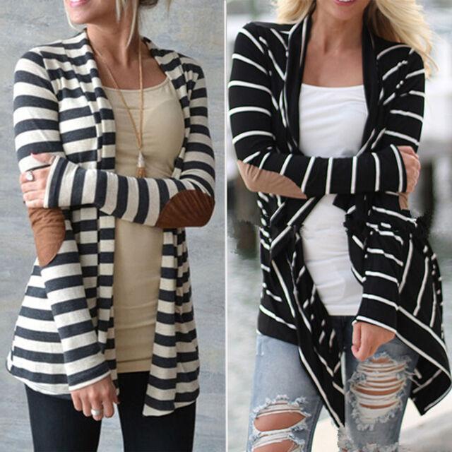 US Womens Long Sleeve Striped Cardigan Autumn Sweater Coat Jacket Slim Outwear