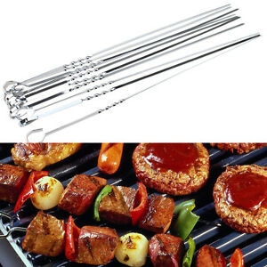 15 Inch 10pcs Stainless Steel Bbq Utensil Skewers Barbeque Kabob Needle Fork