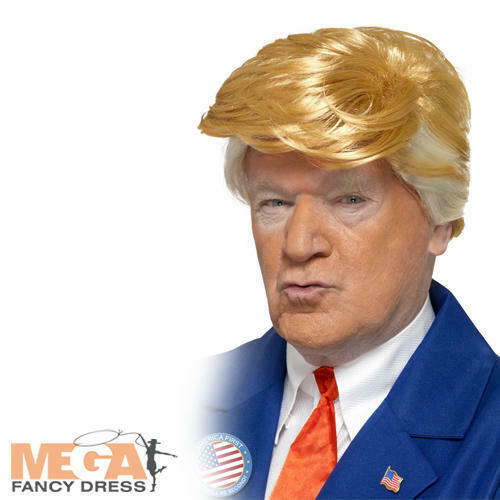 President Wig Mens Fancy Dress Donald Trump US American Adults Costume Accessory