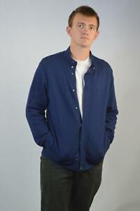 MARKS-amp-SPENCER-Autograph-Mens-Navy-Thick-Jersey-Bomber-Jacket-RRP-49