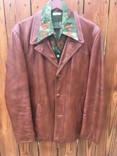 Men's Vintage Leather Jacket 44 Copper/Brown 70's