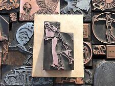 Antique Vtg Roller Derby Skate Letterpress Print Type Cut Ornament Block