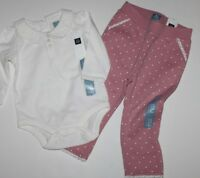Baby Gap Girls Outfit Set Ivory Bodysuit Top W/ Sweat Pants