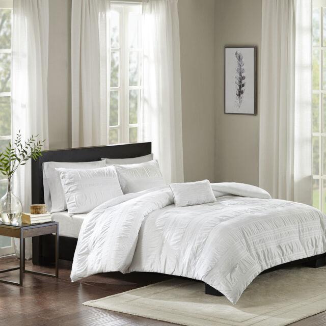 Luxury 4pc White Cotton Seersucker Duvet Cover Set AND Decorative Pillow