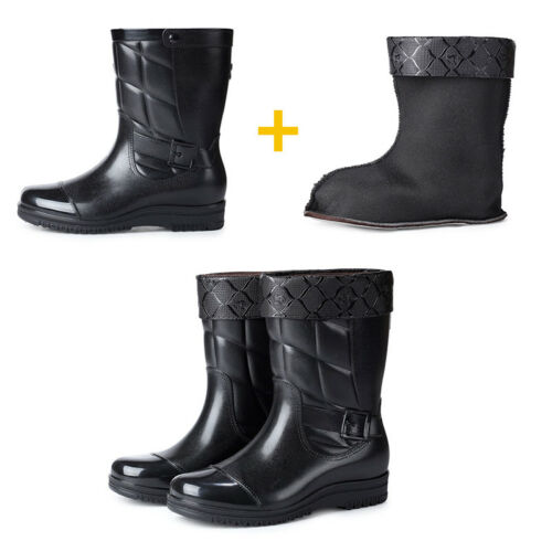 Mens Wellies Wellingtons Waterproof Rain Boots Warm Fur Lined Rubber Snow Boots