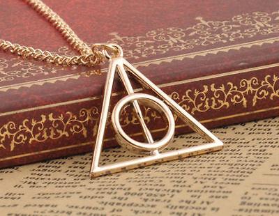 Harry Potter Deathly Hallows Gold Pendant Necklace Men Women