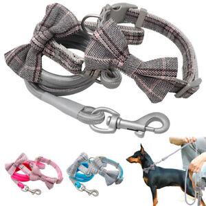 N-ud-Papillon-Petit-chien-Collier-Assorti-corde-en-nylon-Laisse-Fantaisie-Cravate-Chihuahua-rose