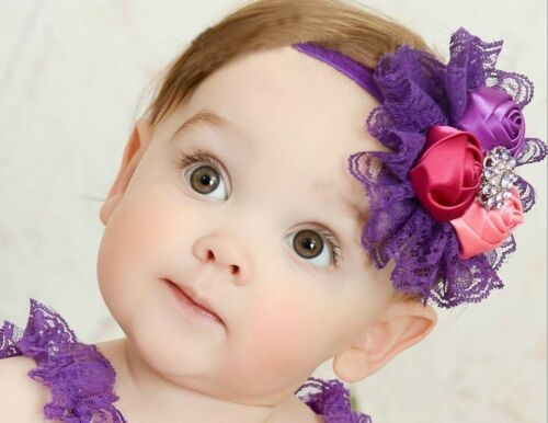 Stretch Lace Big Flower Bow Baby Girl Kids Child Headband Christening Photo Prop