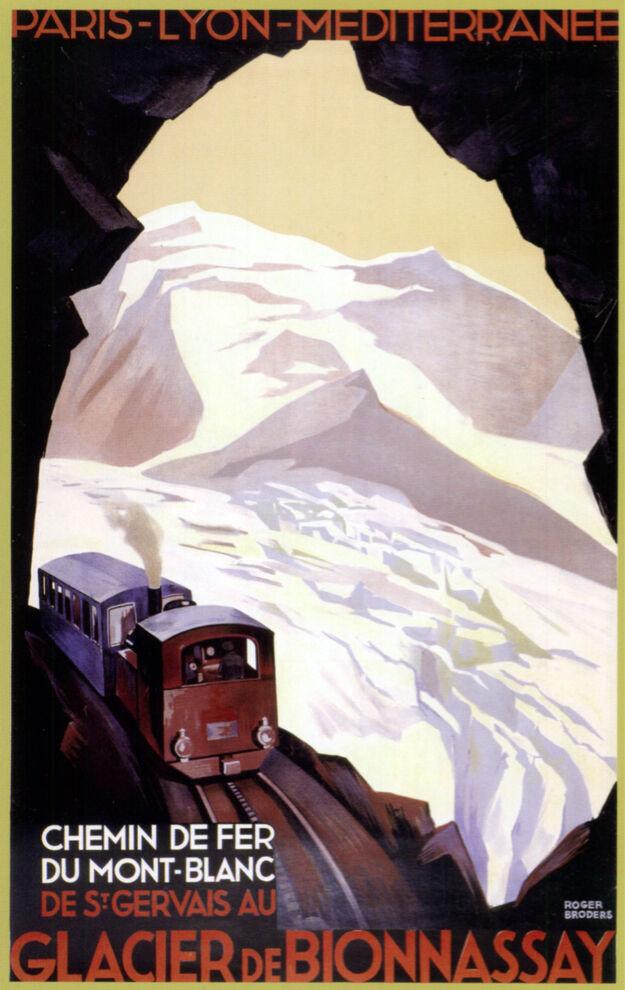 3739.Bionnassay glacier Travel Poster.French railroad Home interior design art