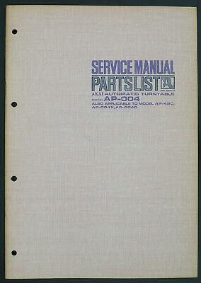 Akai Model Ap-004 Original Turntable Service-manual/diagram/parts List O172 100% Original