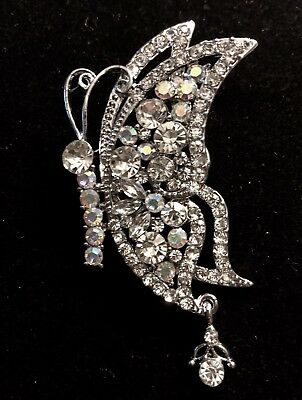 Pins & Brooches Lovely Clear Austrian Crystal Garden Butterfly Bridal Wedding Brooch Broach Pin And To Have A Long Life.