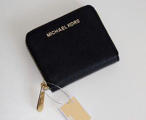 Details zu MICHAEL KORS Damen Geldbörse Portemonnaie JET SET TRAVEL ZA BIFOLD Leder schwarz