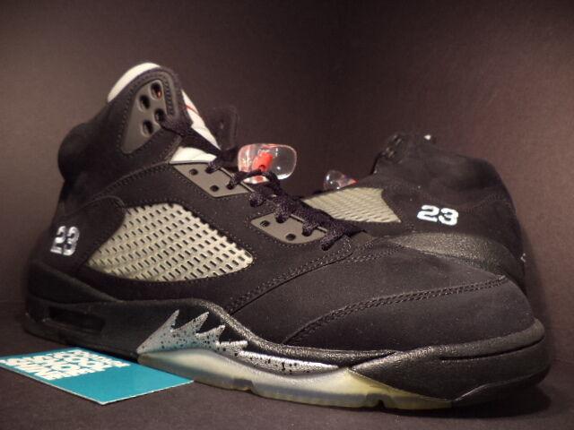 2011 Nike Air Jordan V 5 Retro BLACK SILVER WOLF GREY FIRE RED 136027-010 Sz 12
