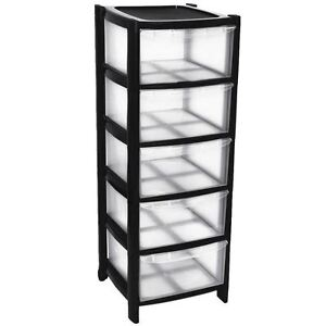 Image Is Loading 5 Plastic Storage Drawers Large Tower With Wheels