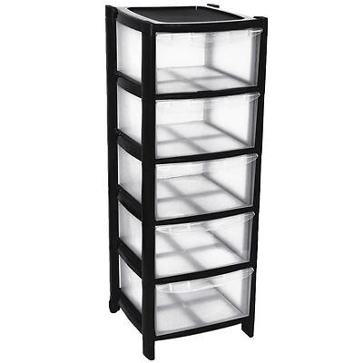 Tall Tower Large Tower With Wheels 5 Plastic Storage Drawers Black Colour