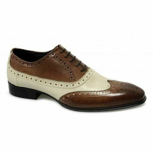 Mens Handmade Shoes Two Tone Brown /& off White Brogue Oxford Wingtip Formal